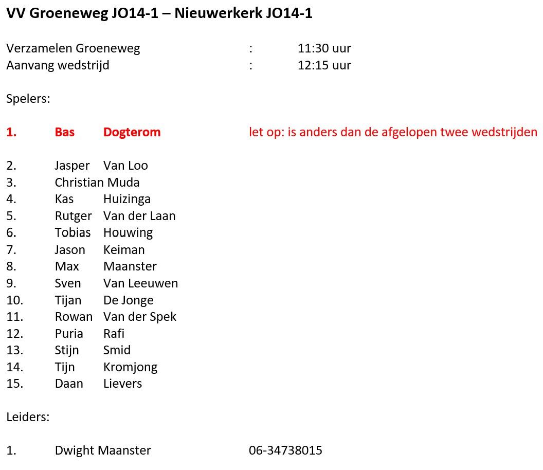 Teams JO14 en JO15 voor zaterdag 19 juni